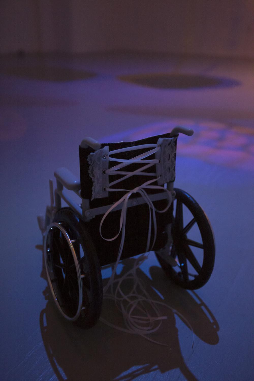 Flannery Silva American Girl Bodice, 2015a American Girl Doll wheelchair, pinstripe fabric, lace grommet trim, ribbon, rhinestones, bows, mini bra straps