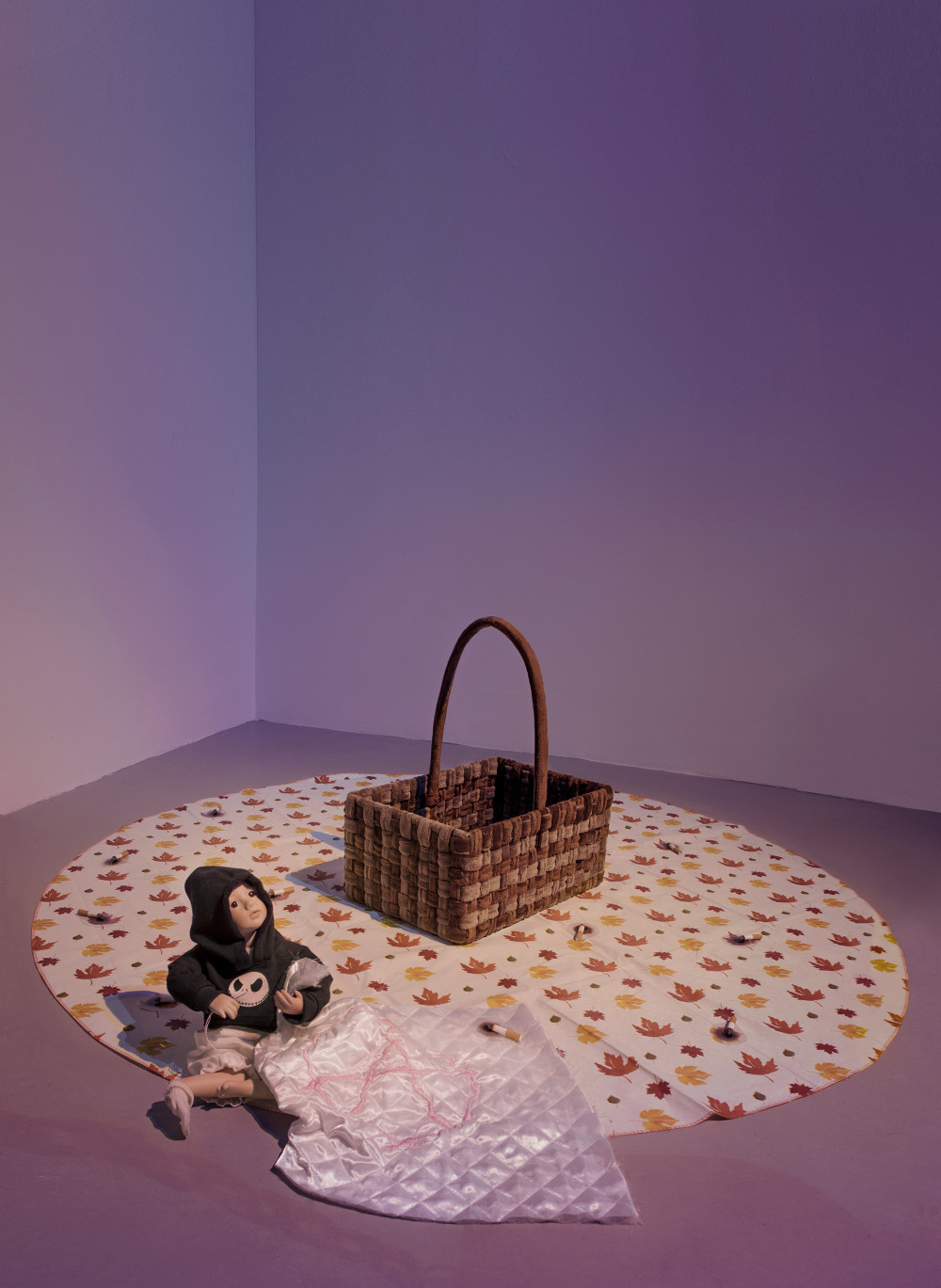 """Flannery Silva Chloé Doll, 2015 Amish Blessings """"Ruth"""" Doll, custom Jack Skelly sweatshirt, bloomers, sock, needle, hand embroidered anarchy heart quilt, fake cigarette burn"""