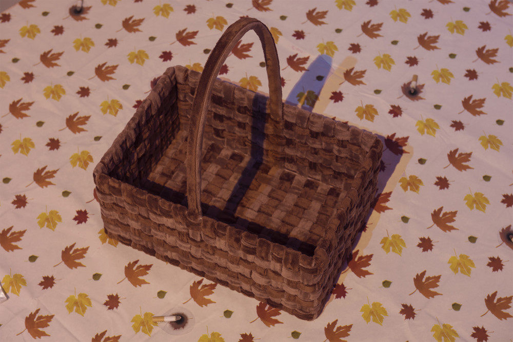 Flannery Silva Valley Basket, 2015 Minky Cuddle fabric, metal, velcro, Rite Aid flannel back tablecloth, fake cigarette burns