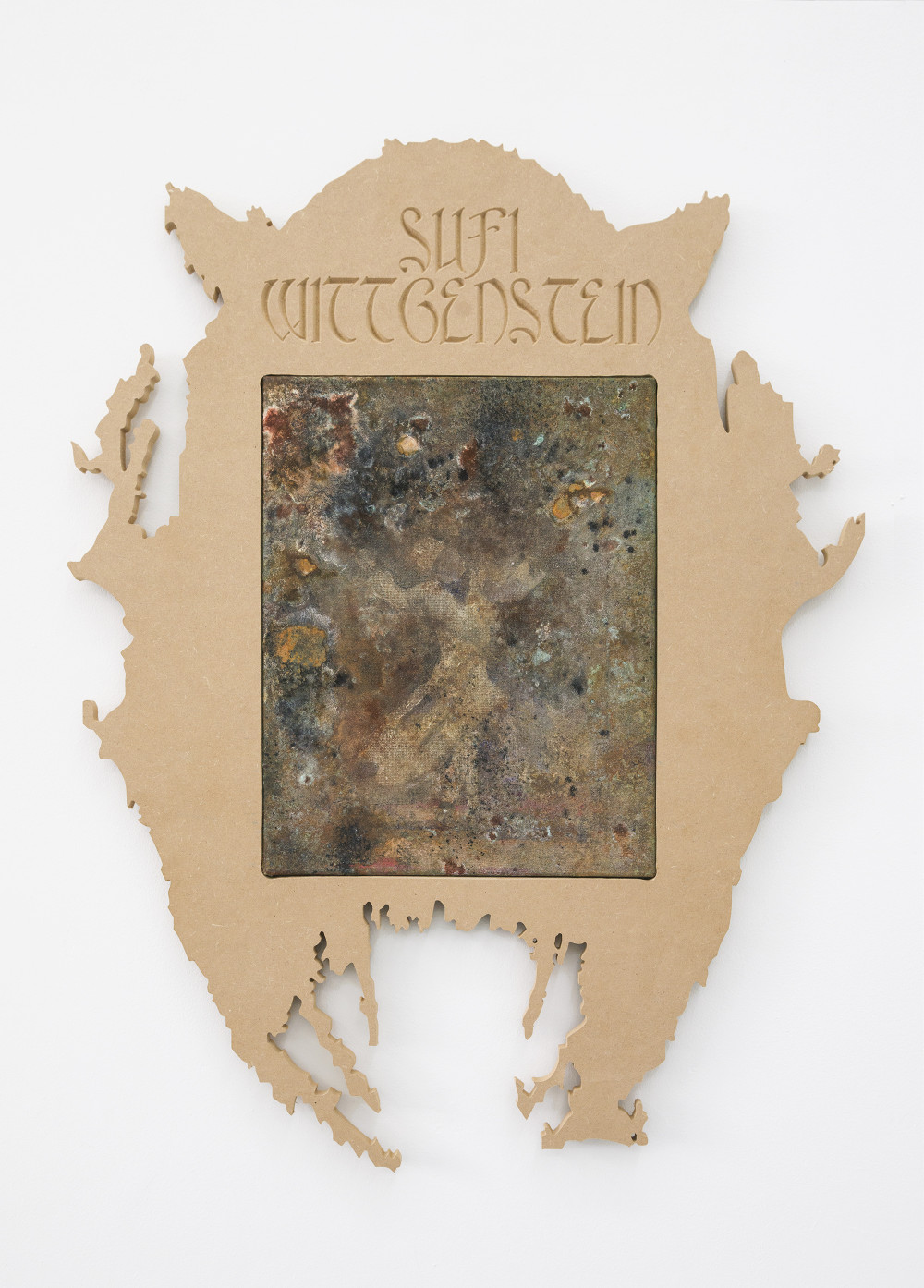 Nickolas Calabrese Muslim Wittgenstein, 2015 MDF Frame, Acrylic, Ink, Iron, Copper, Bronze on Canvas