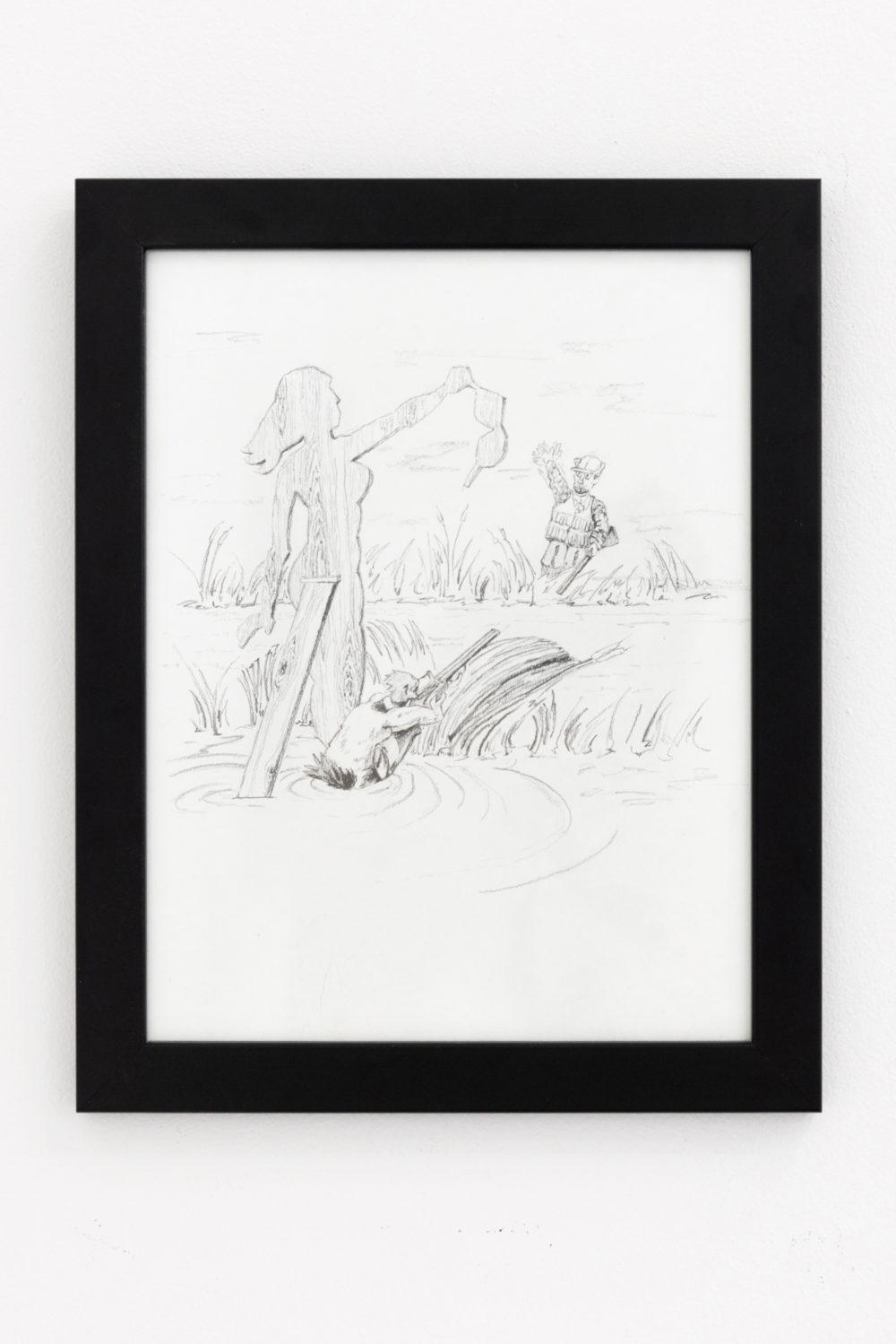 Gunnar Tchida Duck Hunter Shoots Angel, 2016 Graphite on paper