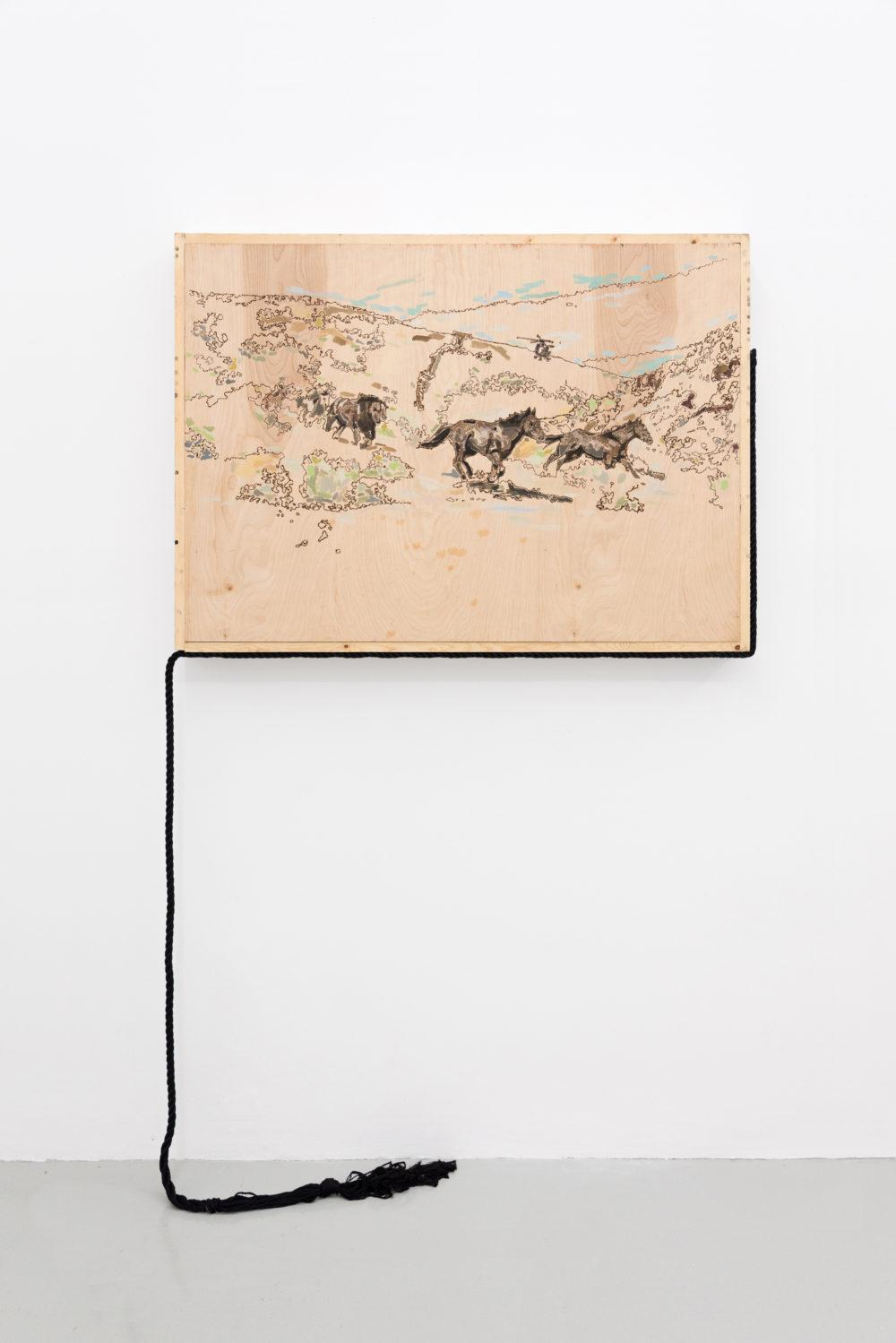 Rebecca Peel Present-day Utah, 2016 Wood, gouache, galvanized steel, polyester rope