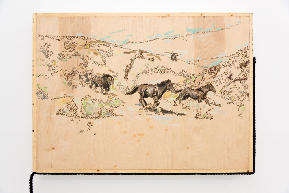 Rebecca Peel Present-day Utah (Detail), 2016 Wood, gouache, galvanized steel, polyester rope