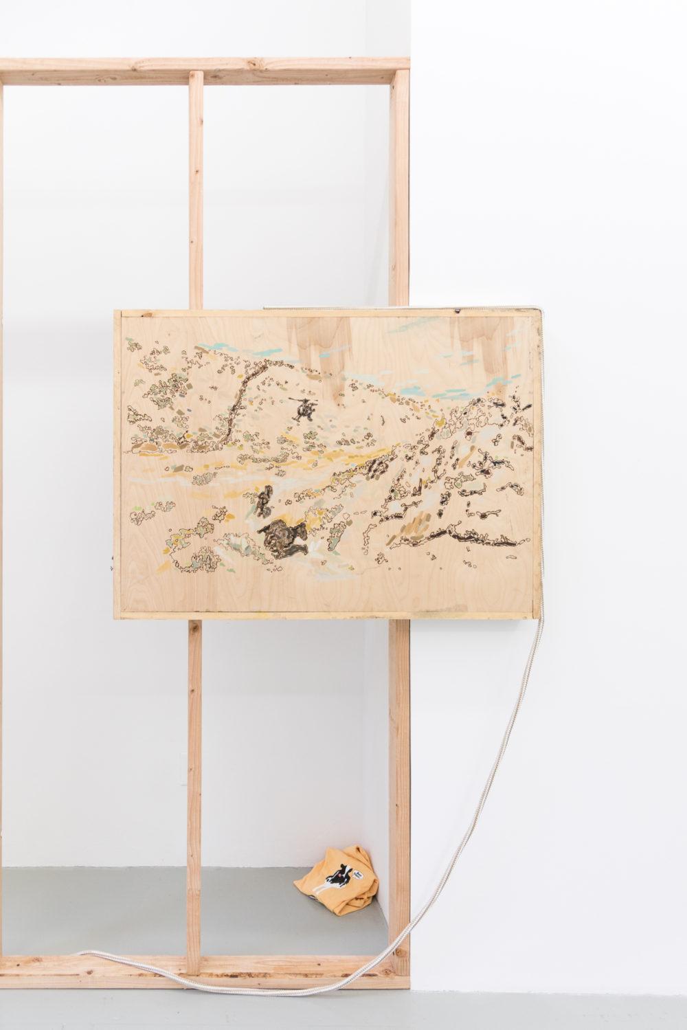 Rebecca Peel Present-day Arizona, 2016 Wood, gouache, galvanized steel, polyester rope