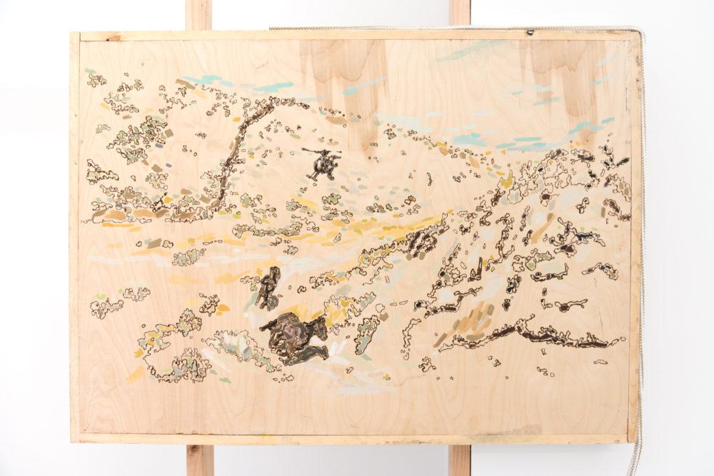 Rebecca Peel Present-day Arizona (Detail), 2016 Wood, gouache, galvanized steel, polyester rope