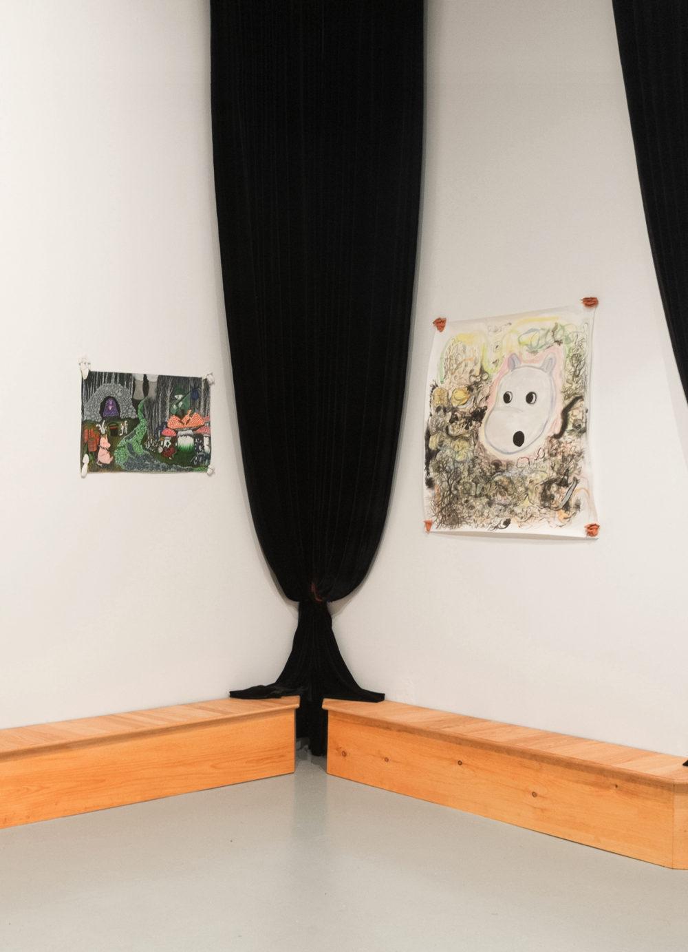 Filip Olszewski Theater Stage and Theater Curtains, 2016 Oak, Pine, Wood stain Velvet, thread, metal