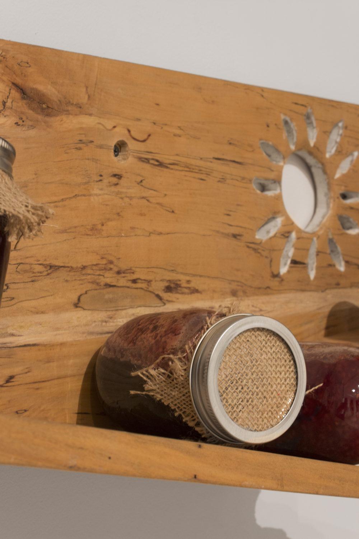 Filip Olszewski Moominmamma's Jams (Detail), 2016 Oak shelf, glass jars, burlap, preserves