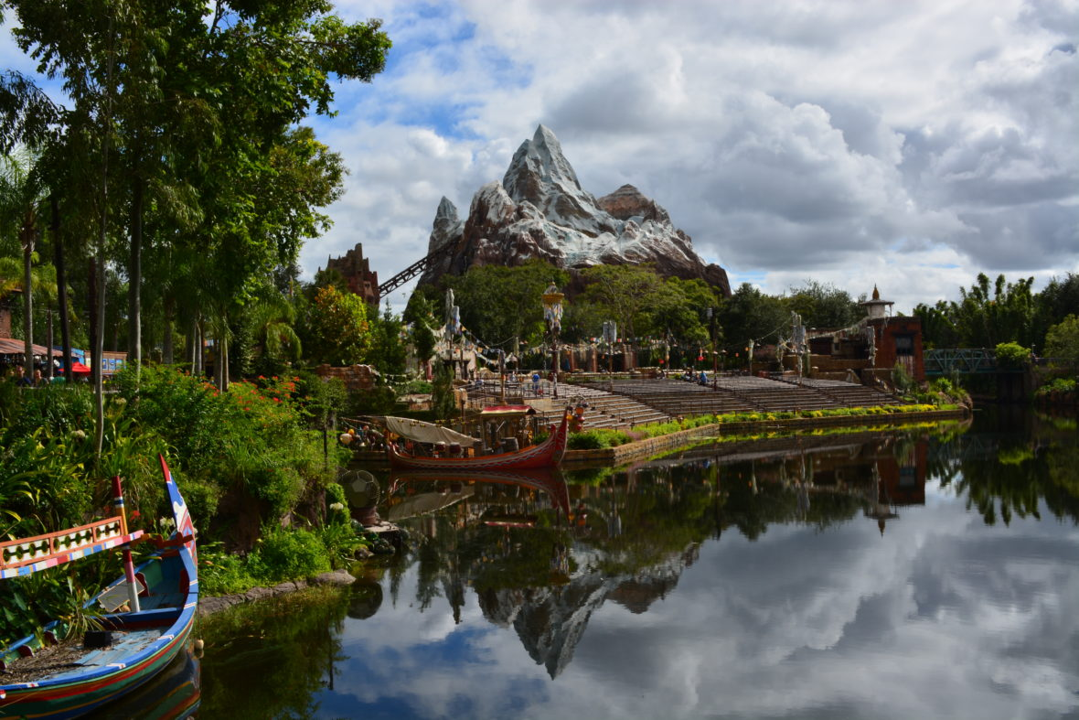 Expedition Everest in the distance with a reflection on the water in Animal Kingdom