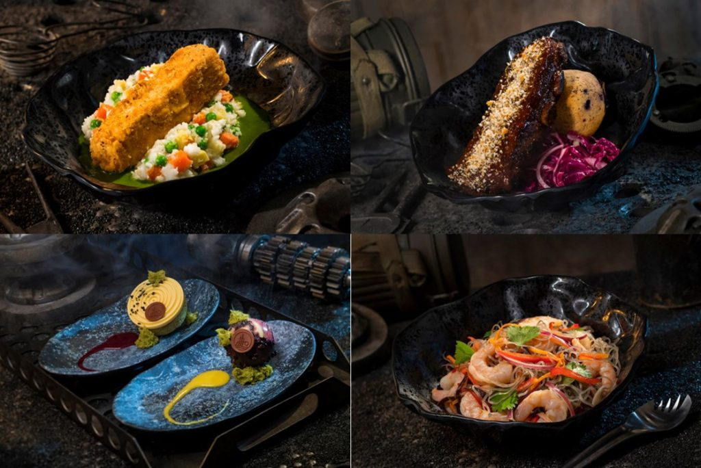 Four pictures of food in bowls.  Clockwise from the upper left corner: Fried Endorian Tip-Yip, Smoked Kaadu Ribs, Yobshrimp Noodles, and two plates with small desserts on them.
