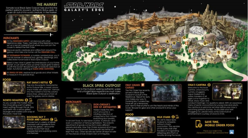 The stores and dining locations with brief descriptions located by a key on a map of Star Wars: Galaxy's Edge.