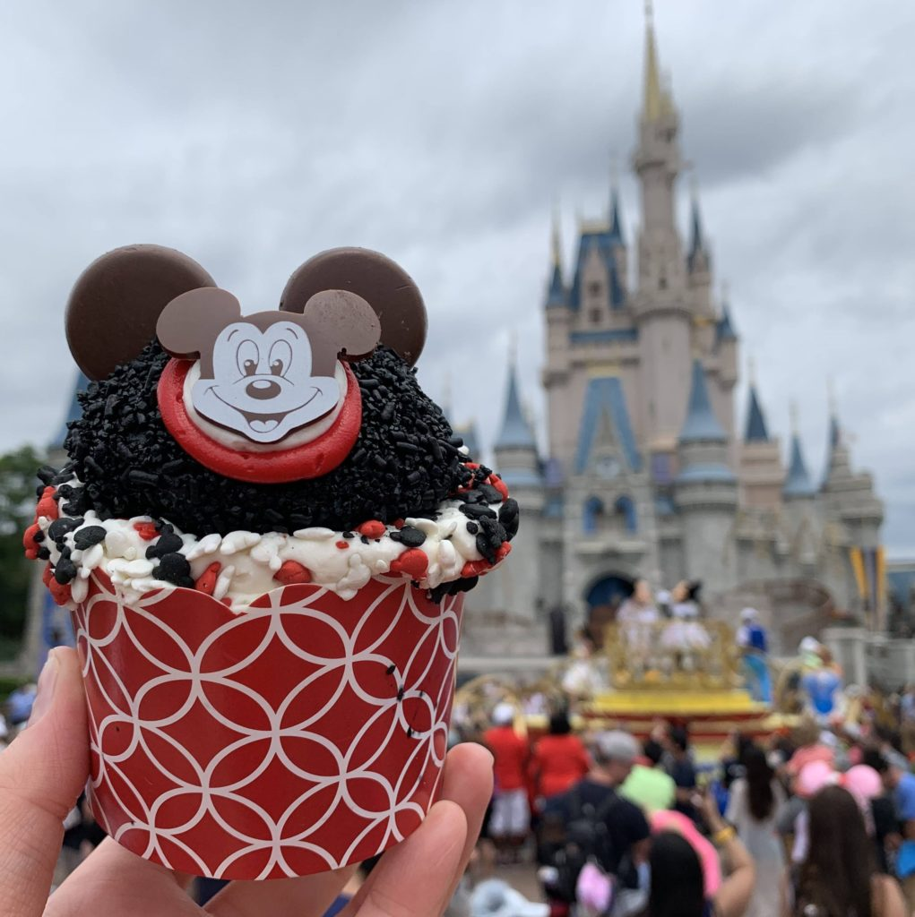 """The Mouseketeer Cupcake in front of Cinderella Castle in Magic Kingdom During the """"Get Your Ears On"""" Celebration"""
