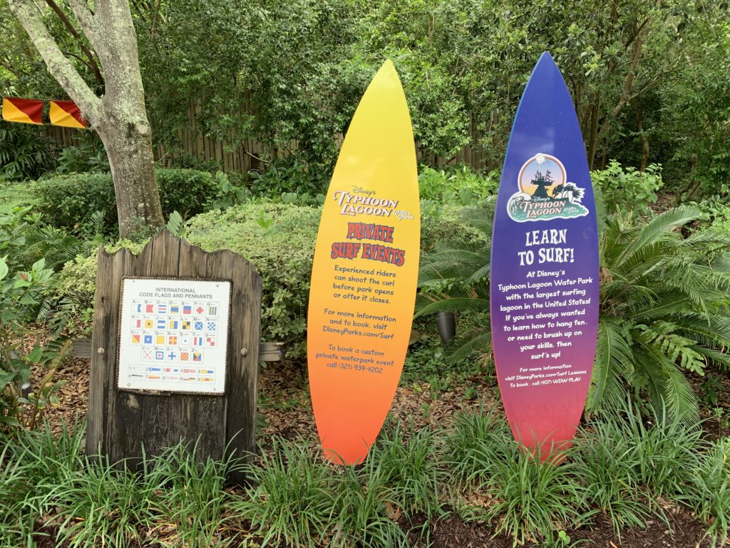 Signs at Disney's Typhoon Lagoon for Surf Lessons and Events