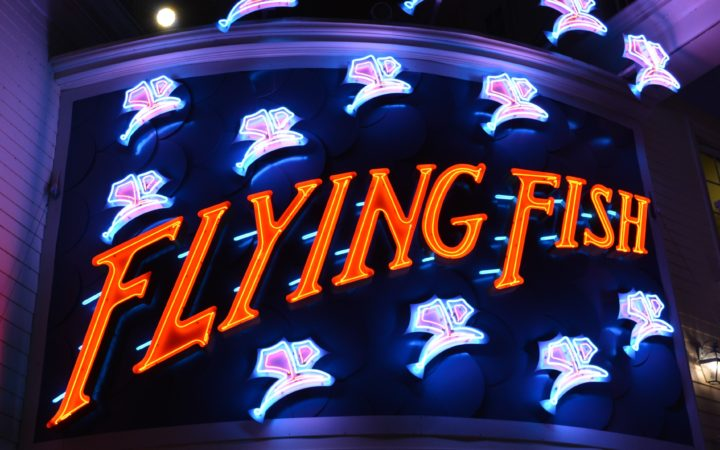 Sign for the Flying Fish Restaurant on Disney's BoardWalk