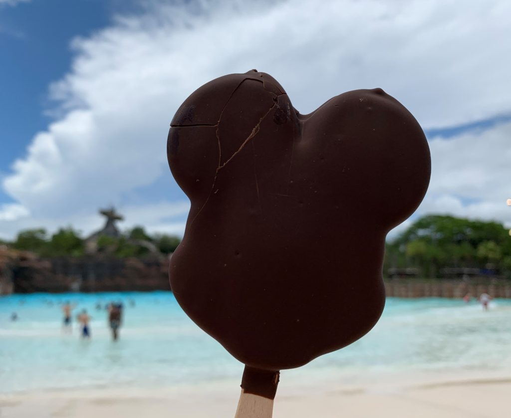 Mickey Bar in front of the wave pool and Miss Tilly at Disney's Typhoon Lagoon.
