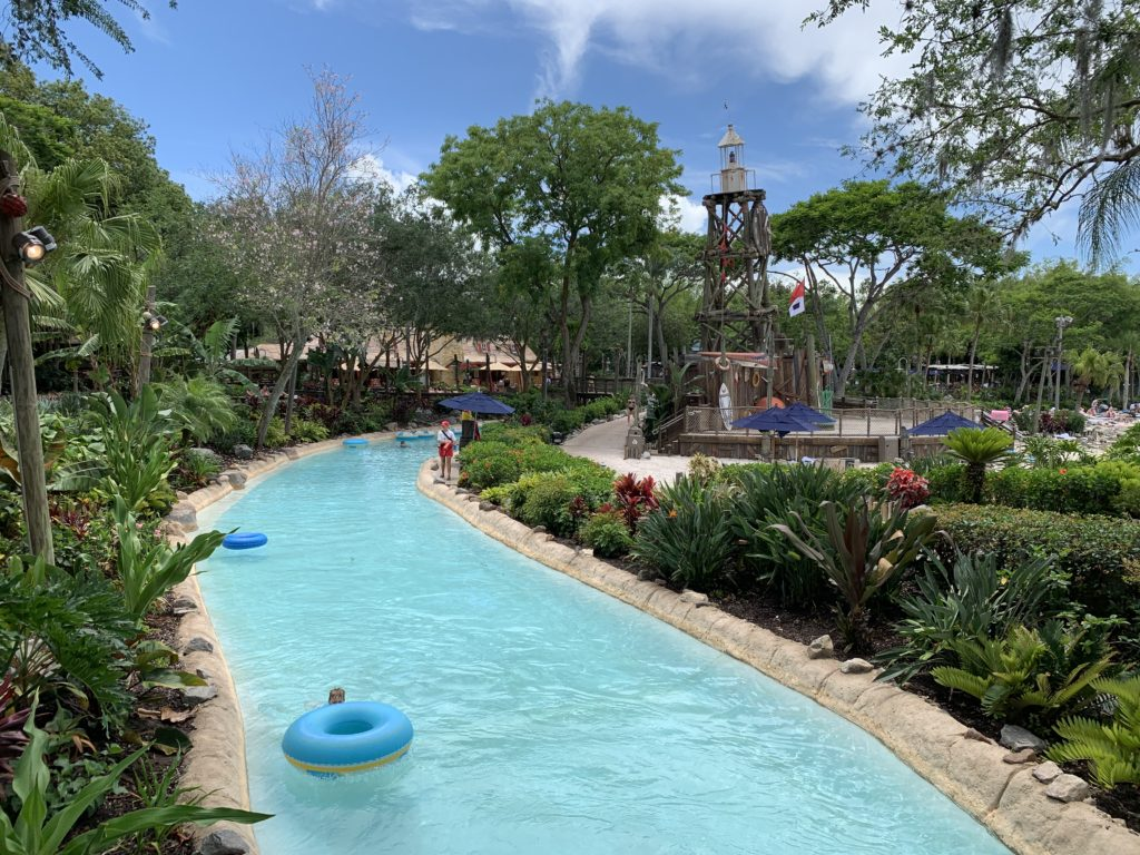 """The lazy river, """"Castaway Creek"""" at Typhoon Lagoon on a beautiful afternoon."""