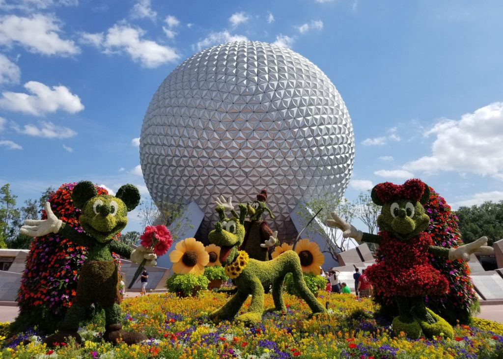 A Picture of Spaceship Earth with Mickey, Minnie and Pluto in Epcot in Walt Disney World.