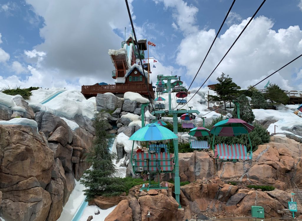 A picture of the Chairlift heading up Mount Gushmore at Disney's Blizzard Beach.