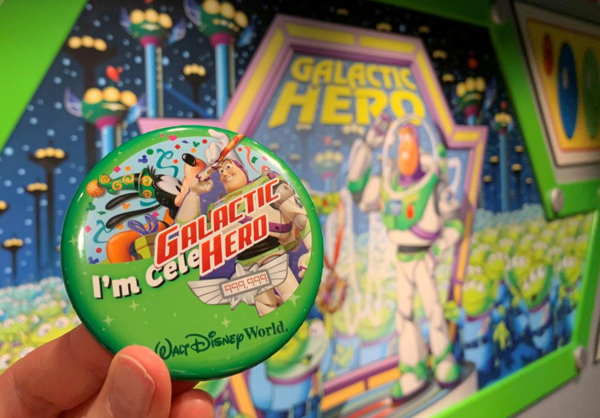 "A Galactic Hero Sticker on a Walt Disney World ""I'm Celebrating"" Button"