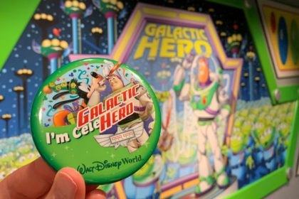 "A Galactic Hero Sticker on a Walt Disney World ""I'm Celebrating"" Button"