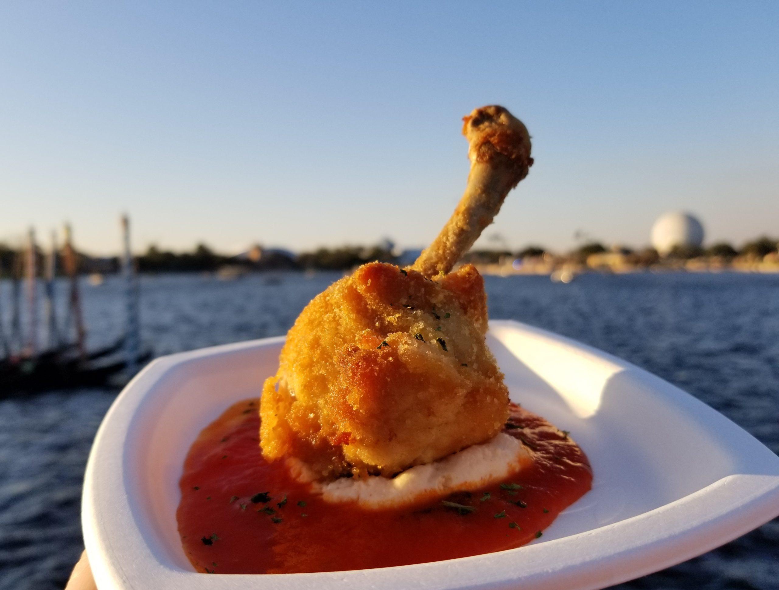 Pollo ala Pirandello: Golden Chicken Drumstick stuffed with Ricotta Cheese and Pomodoro Sauce from L'Arte di Mangiare in Italy