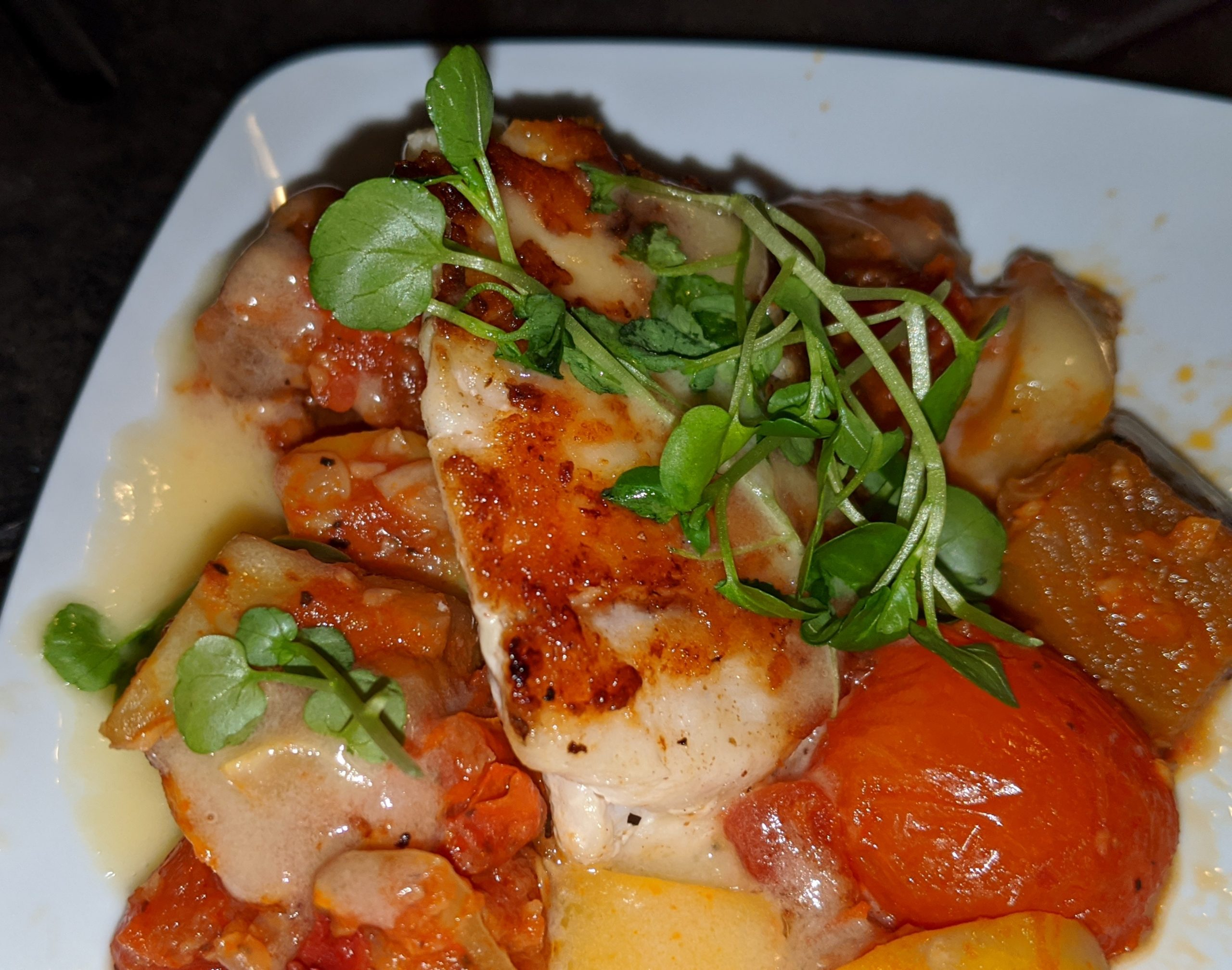 Seared Corvina with braised Ratatouille and Lemon-Thyme Beurre Blanc from Cuisine Classique in Germany