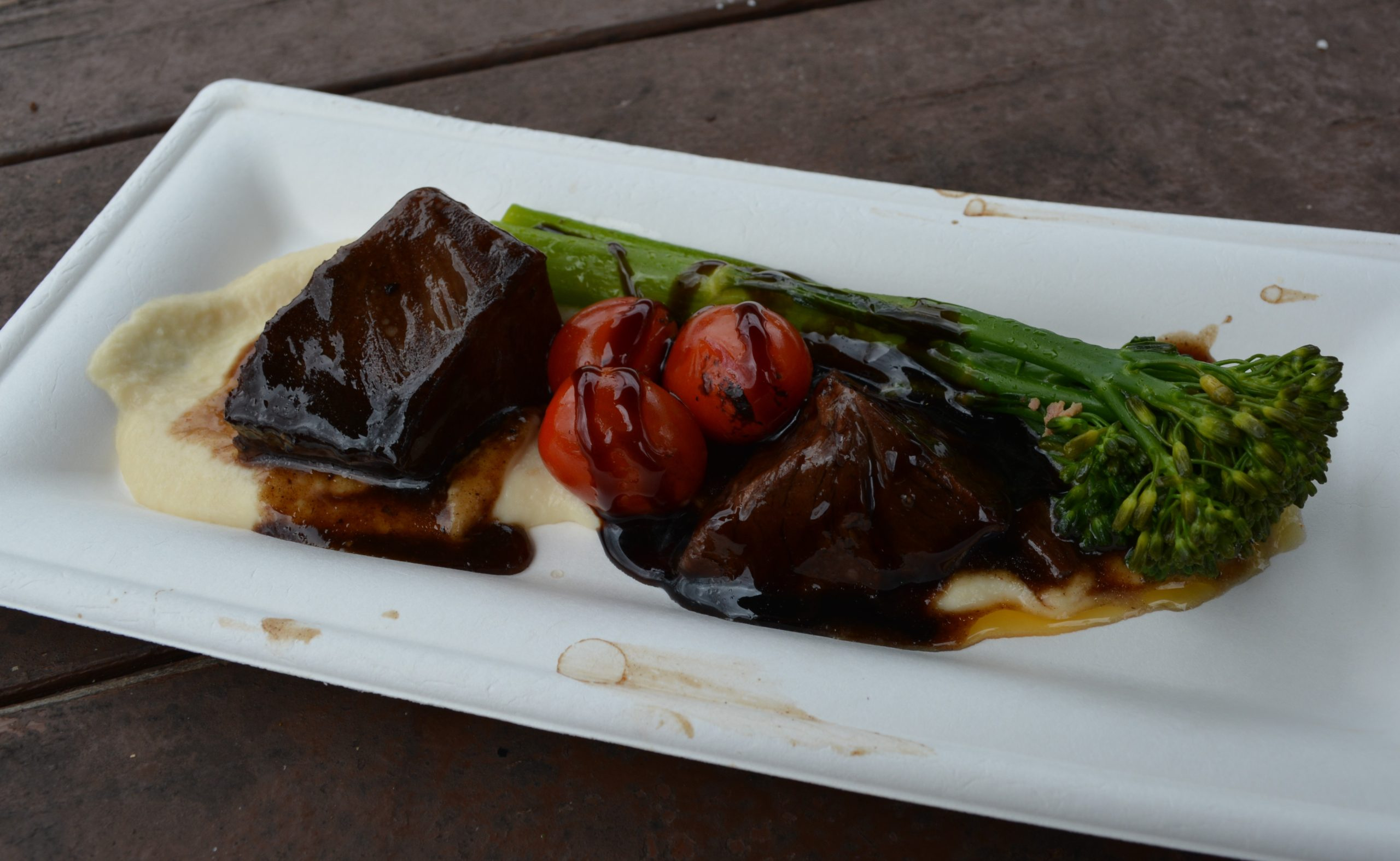 Red Wine-braised Beef Short Rib with Parsnip Purée, Broccolini, Baby Tomatoes and Aged Balsamic from Cuisine Classique in Germany