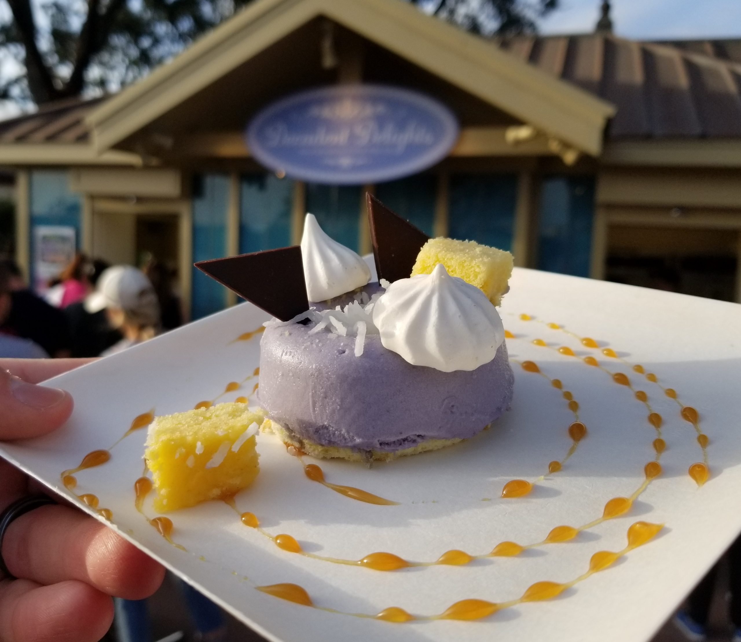 White Chocolate and Purple Sweet Potato Mousse, Caramel, Coconut and Maple Meringue from Decadent Delights