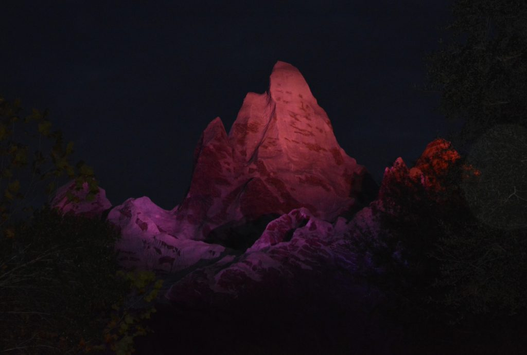 The Peak of Expedition Everest at night in Animal Kingdom