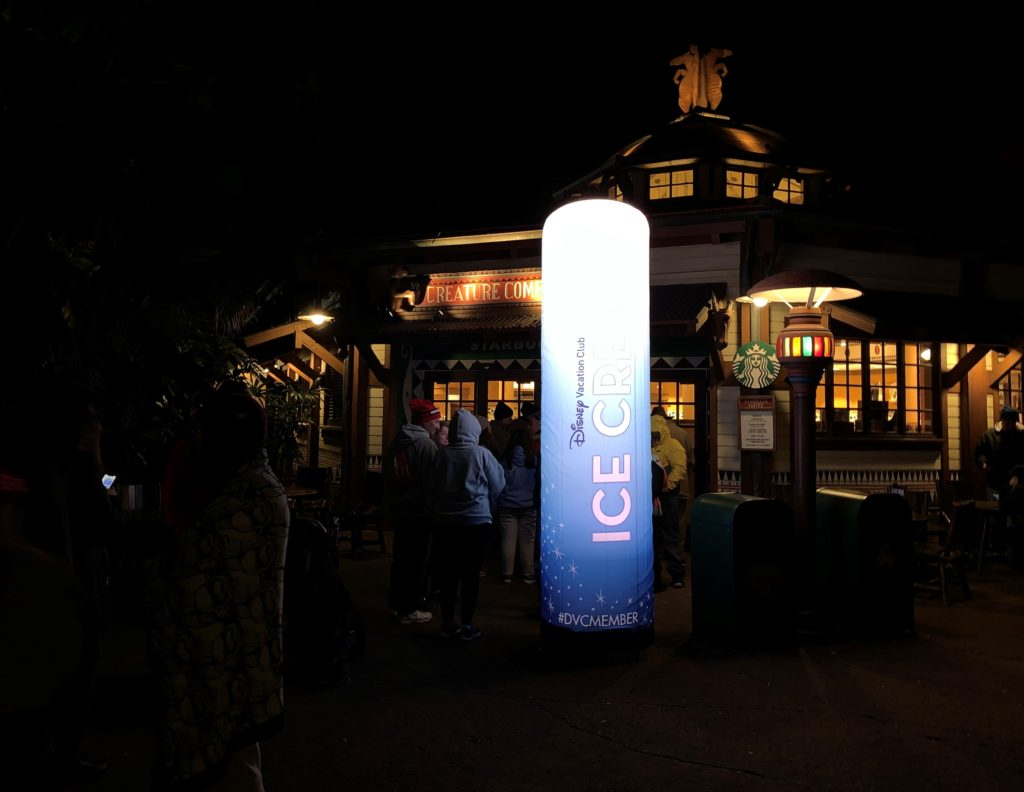 Line for the Free Ice Cream at the DVC Moonlight Magic 2020 Event at Creature Comforts in Animal Kingdom