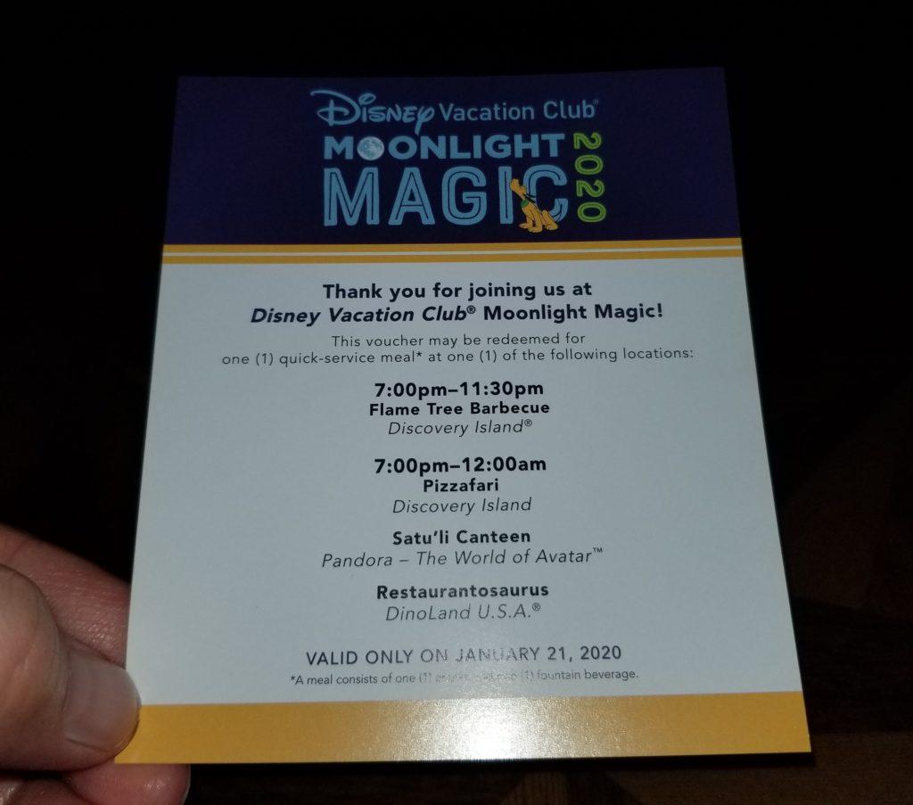 DVC Moonlight Magic 2020 Meal Voucher