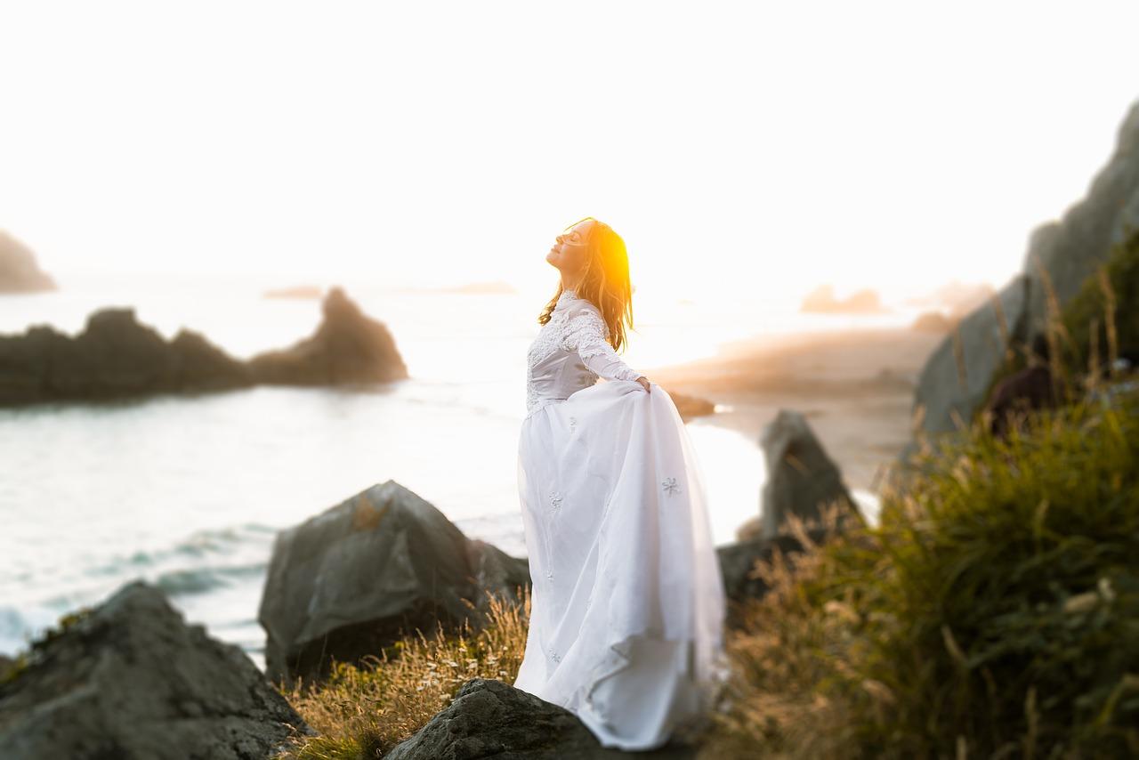 women, dress, sea