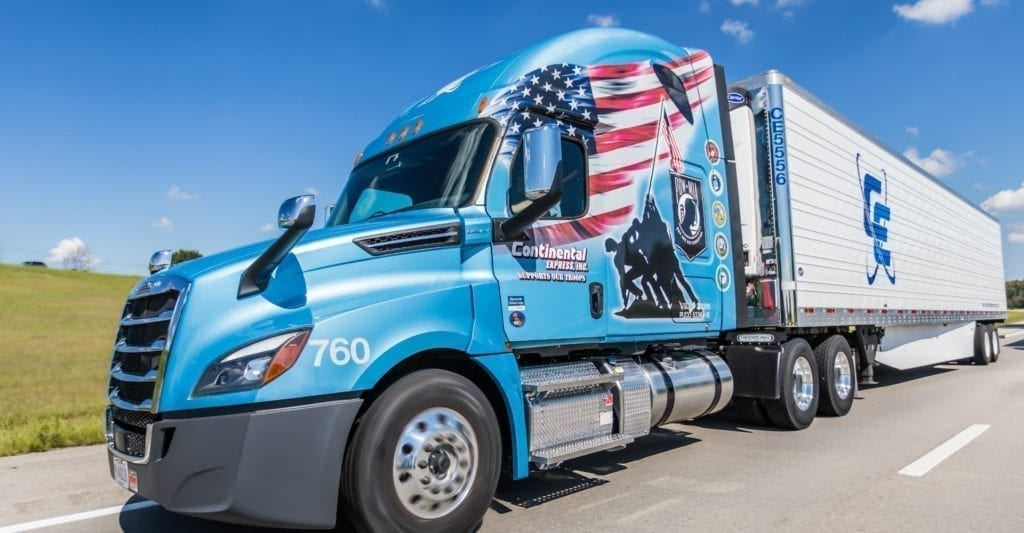 Continental Express American flag truck
