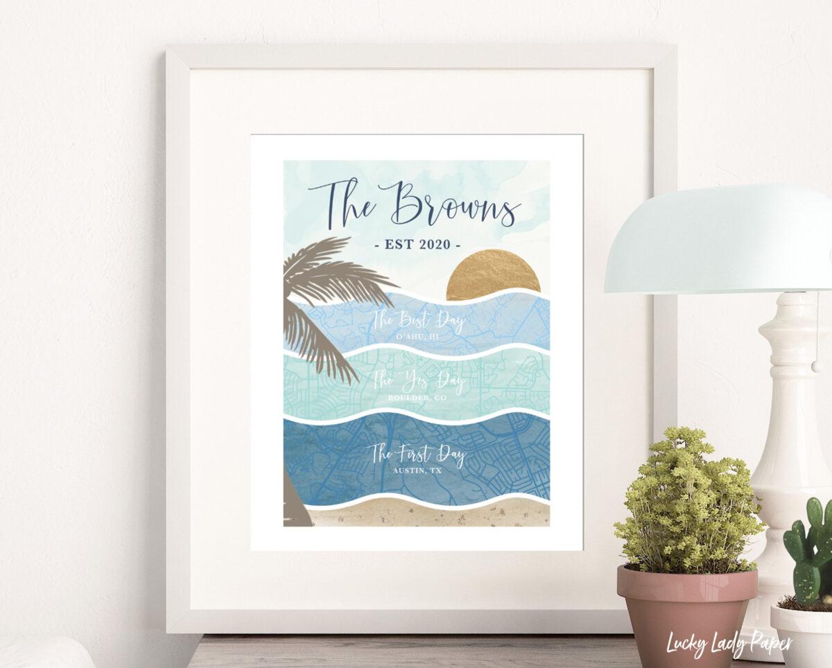 personalized beach map wall art print