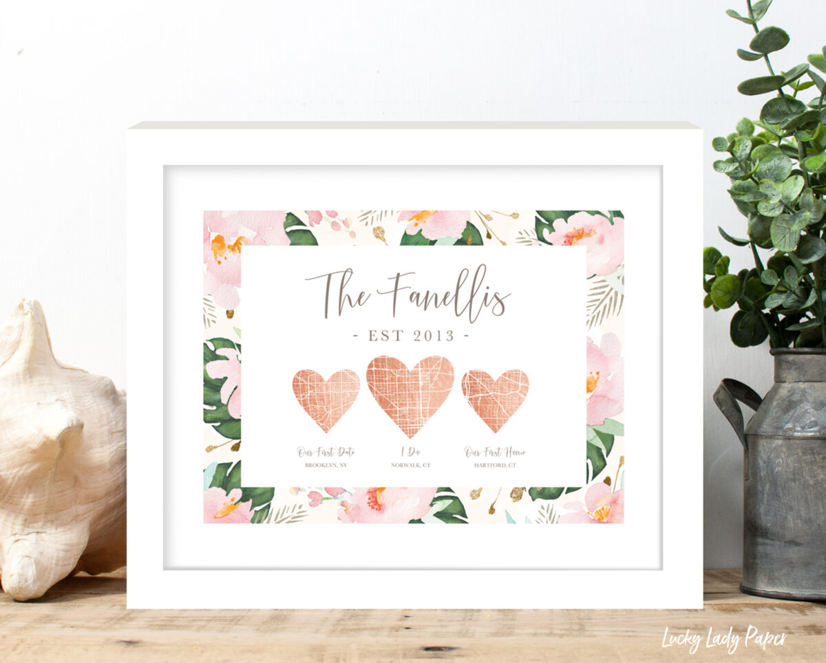heart map peony rose gold white frame