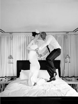 Brride & Groom Jump on Bed