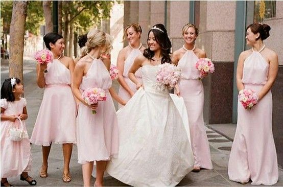 Same color different lengths Bridesmaids Dresses