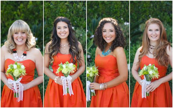 Same Dress Different accessories Bridesmaids