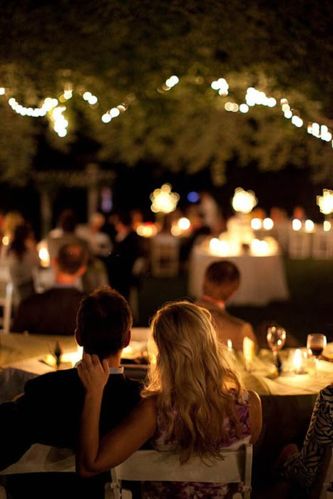 Bride and Groom at Dinner Table