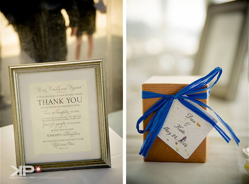 Thank you card framed at wedding