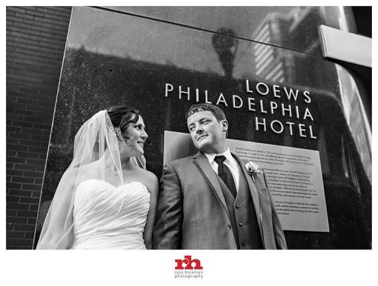 Bride and Groom Loews Philadelphia Hotel
