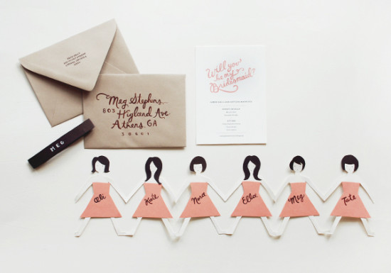 Paper Doll Card for Bridesmaids