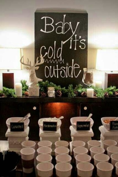 Hot chocolate station at wedding