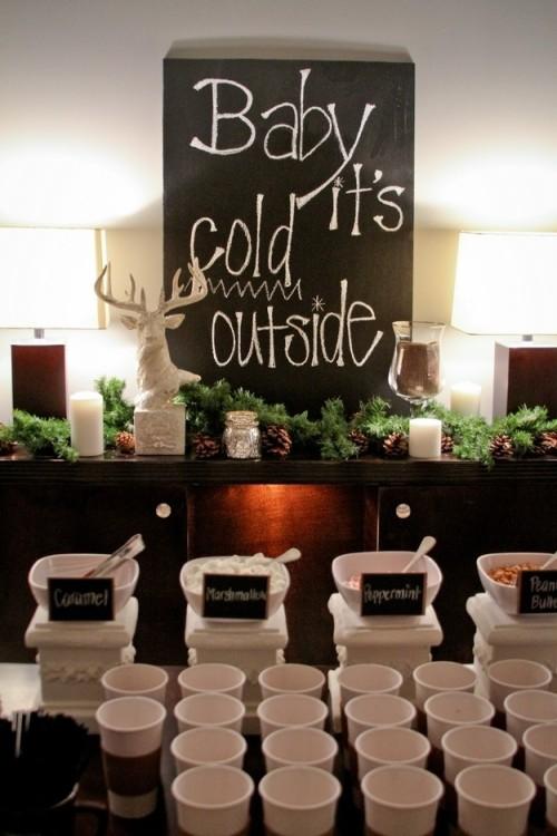 Hot Chocolate Bar at Winter Wedding