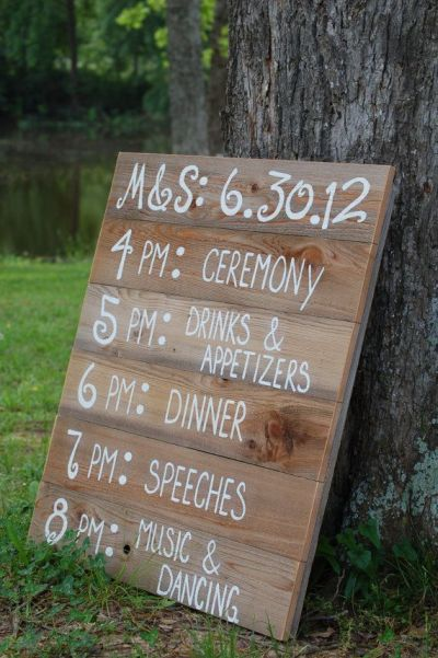 Wedding Sign Itinerary
