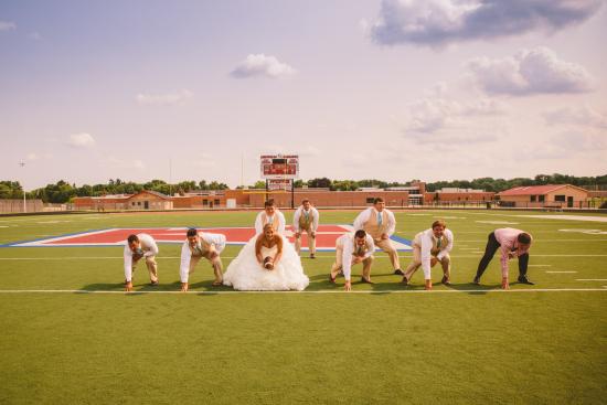 Football Wedding Party Pose