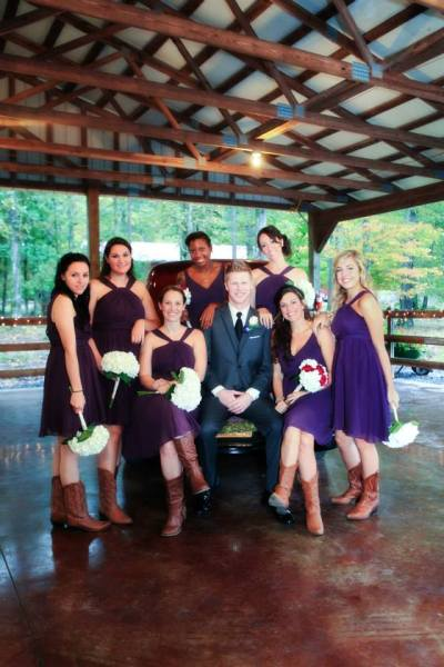 Rustic Bridesmaids with boots