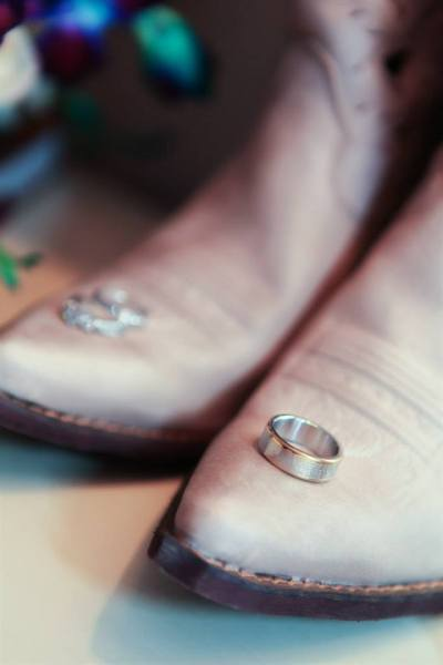 Brides Cowboy Boots and Rings