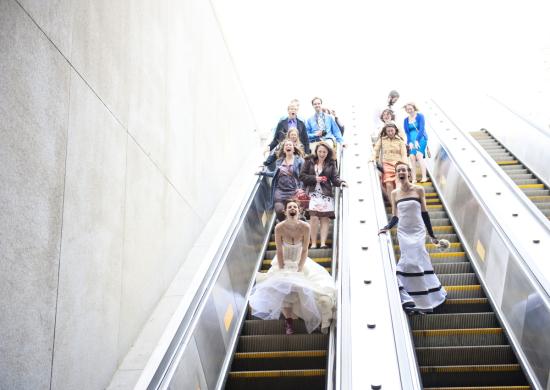 Bridal Pary on Escalator