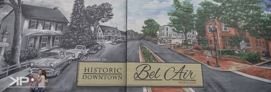 Historic Downtown Bel Air Mural in the downtown parking lot