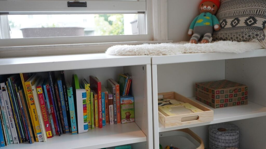 Montessori Reading Nook and Shelves at Home